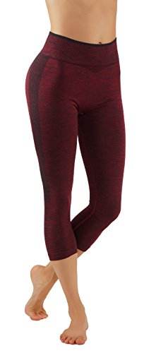 - Pro Fit Yoga Pants Dry Fit Compression Workout Leggings (S/M USA 2-6, PF604-Burgundy)