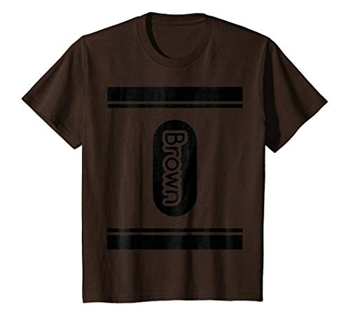 Kids Brown Crayon halloween costume t shirt couple friend group 4 Brown