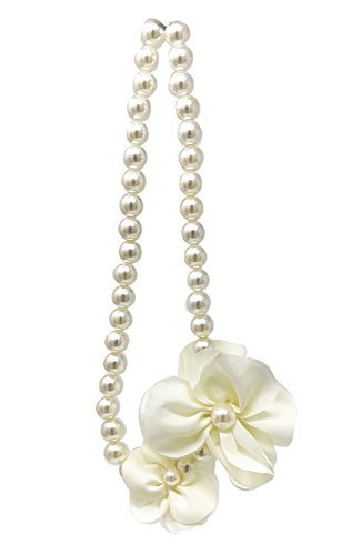 FRILLS Flower Pearl Necklace for Girls - The Perfect Floral Accessory for your Toddler Princess! - Ivory (Medallion Colored Bead Necklace)