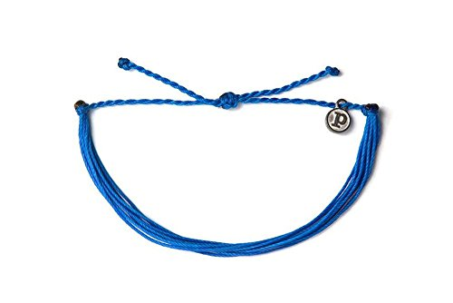 Pura Vida Solid Blue Bracelet - Handcrafted with Iron-Coated Copper Charm - Wax-Coated, 100% Waterproof