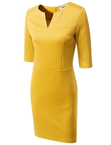 [Doublju Women Sexy Colorful 3/4 Sleeve Plus Size Dress YELLOW,3XL] (Maternity Fancy Dress Uk)