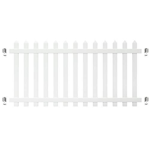 Outdoor Essentials PicketLock Yorktown 4 ft. x 8 ft. White Vinyl Spaced Spade Picket Fence Panel Plus Brackets