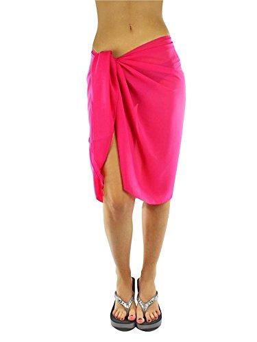 - Luxury Divas Sheer Fuchsia Pink Knee Length Cover Up Sarong Wrap for Women