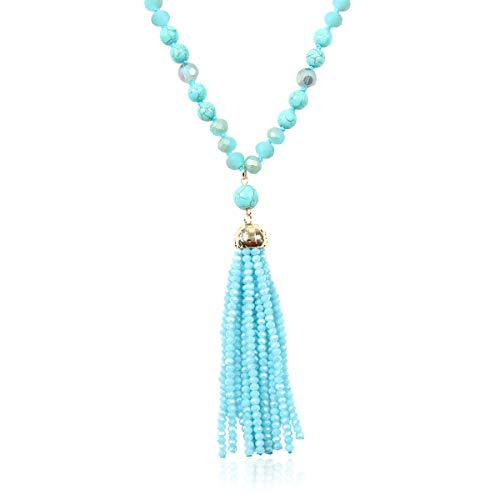 RIAH FASHION Bohemian Pendant Beaded Long Statement Necklace - Sparkly Crystal Bead Boho Teardrop, Natural Stone, Tassel Charm Wrap Lariat (Beaded Tassel - Turquoise) (Turquoise Bead Lariat)