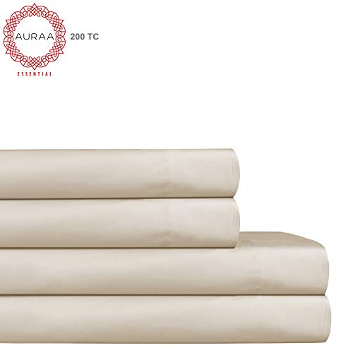 AURAA ESSENTIAL 100% Long Staple Cotton Sheet Set - King Sheets - 4 Piece Set,Soft & Smooth Percale Weave,16