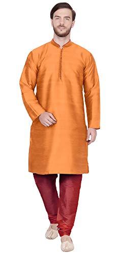 SKAVIJ Men's Tunic Kurta Pajama Set Traditional Dress (X-Large, Orange)