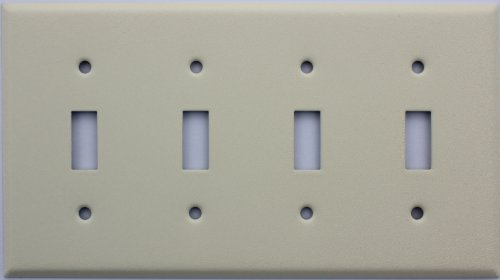 Ivory Wrinkle 4 Gang Toggle Switch Wall Plate Paintable Cover