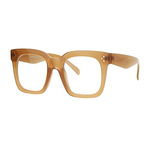 Super Oversized Clear Lens Glasses Thick Square Frame Fashion Eyeglasses Tan