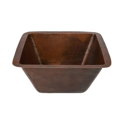 (15 in. Square Under Counter Hammered Copper Bathroom Sink)