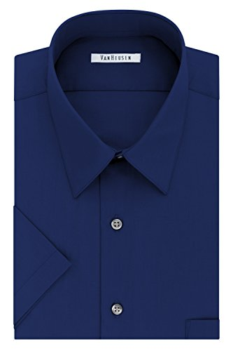 Van Heusen Men's Short Sleeve Poplin Solid Dress Shirt, Persian Blue, 15.5