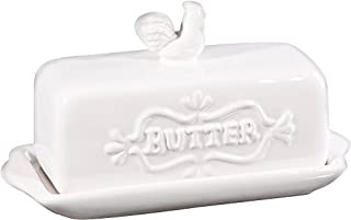 """Home Essentials 76508 7""""L Covered Butter Dish With Rooster Finial 7 X 3 X 4 inches, White (B017IDGA78) 