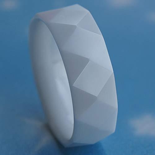 - Cool Facet White 8mm Hi-tech Scratch Proof Ceramic Ring