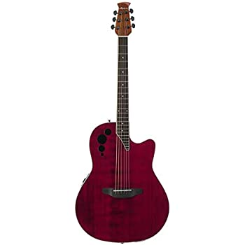 Ovation Applause 6 String Acoustic-Electric Guitar, Right, Ruby Red, Mid-