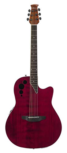 Ovation Applause 6 String Acoustic-Electric Guitar, Right, Ruby Red, Mid-Depth (AE44II-RR)