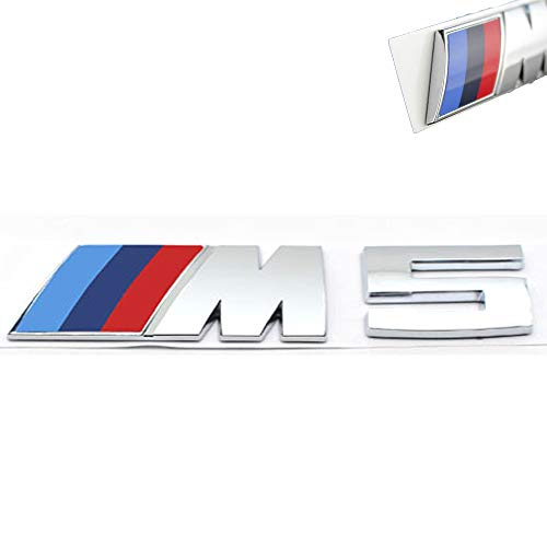 3D Car M3 M5 ABS Rear Trunk Emblem Badge Sticker Decals for BMW 3 5 Series (Silver M5) ()