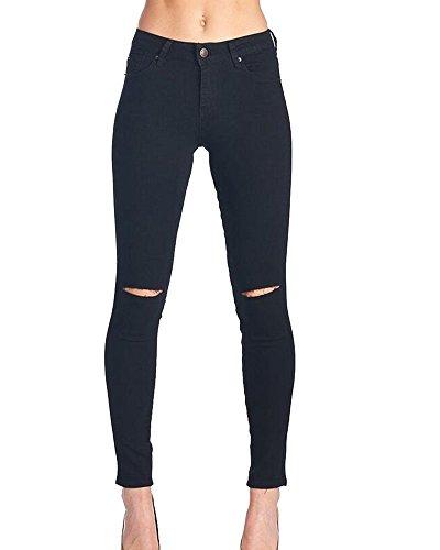 Matita Lunghi Nero A Elastico Vita Pantaloni Leggings Denim In Jeans Skinny Kasen Donna Alta BqgUxnPv1w