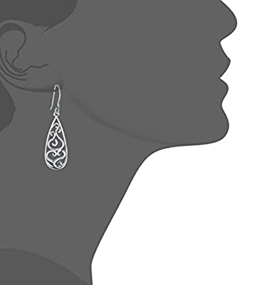 925 Sterling Silver Earrings, BoRuo Filigree Teardrop Earrings by BRC Creative Corp.