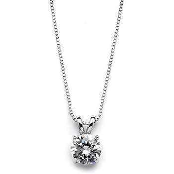 e8dc12cbd Mariell Genuine Platinum Plated Round-Cut 2 Carat Cubic Zirconia Necklace  Pendant - Adjustable Length