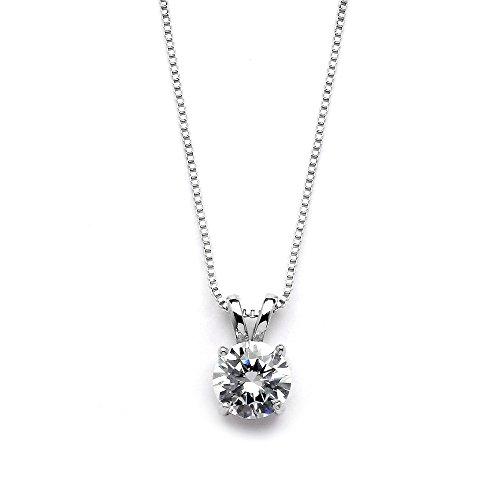 Mariell Genuine Platinum Plated Round-Cut 2 Carat Cubic Zirconia Necklace Pendant - Adjustable Length