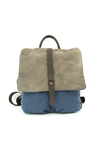 Handmade Denim Blue Canvas and Leather Unisex Backpack, High End Rucksack by Ruth Kraus