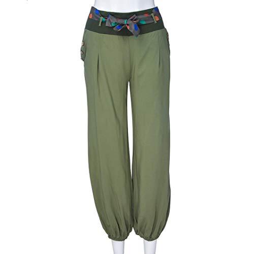 Sólidas Casual Yoga CICIYONER de Capri Pantalones Ancha Cintura Ejército Boho de de Pantalones de Anchos Mujeres Baja de Pierna 5nTTrxqXH