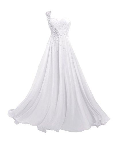 Robes Bal de Soiree Chiffon paule Blanc Une Robe Longue de d'honneur de Femmes Demoiselle Robe RdqU4x88