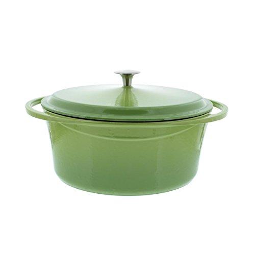 Artland La Maison Cast Iron Oval Casserole Dish, 7-Quart, Green
