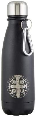 18 Ounce St Benedict Medal Stainless Steel Insulated Water Bottle with Carrier Clip for Totes