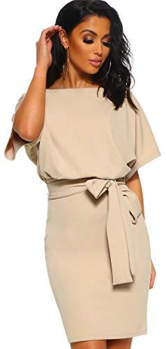 Longwu Women's Elegant Short Sleeve Wear to Work Business Party Bodycon Pencil Dress Apricot-M