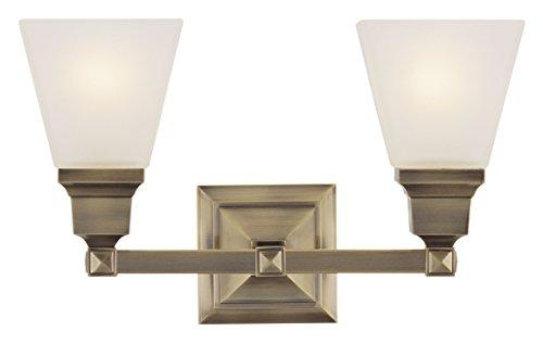Livex Lighting 1032-01 Mission 2-Light Bath Light, Antique Brass