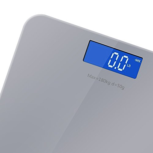 Yoobure 400lb / 180kg Digital Body Weight Bathroom Scale with Tempered Glass Balance Platform Easy Read Backlit LCD Display Scale (Gray) by Yoobure (Image #3)