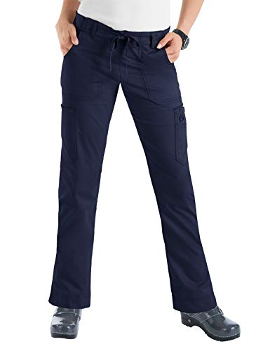 (KOI Women's Size Tall Stretch Lindsey Mid-Rise Drawstring Waist Cargo Scrub Pant, Navy, Large)