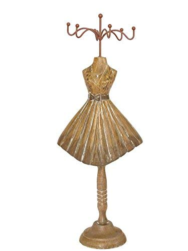 North Ridge Crafts Jewelry Stand Wood Jewelry Storage Mannequin Jewelry Display, Vintage Dress Style with Hand Painted and Hand Carved Design, Unique, Gift