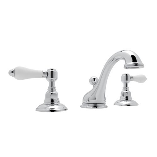 Rohl A1408LPAPC-2 Country Bath Viaggio Widespread Lavatory Faucet with Porcelain Levers Pop-Up and C Spout, Polished Chrome C-spout Two Handle