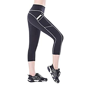 BLINKIN Yoga,Gym and Active Sports Fitness Black Capri Tights with Side Pockets for Women|Girls(Polyester Fabric)(015)
