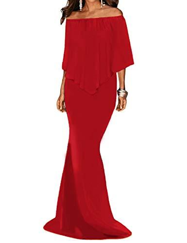 Sin Shoulder Maxi Red Noche Prom Mujeres Vestidos One 2 Cinturón Elegante Off Lrud RcBFzpW