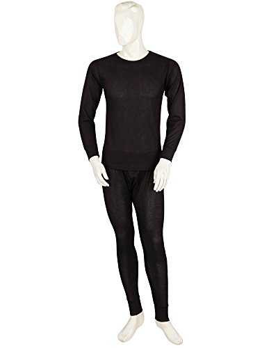 Styllion Men's 2 Piece Long Thermal Underwear Set - Cotton Blend (XL, Black) -