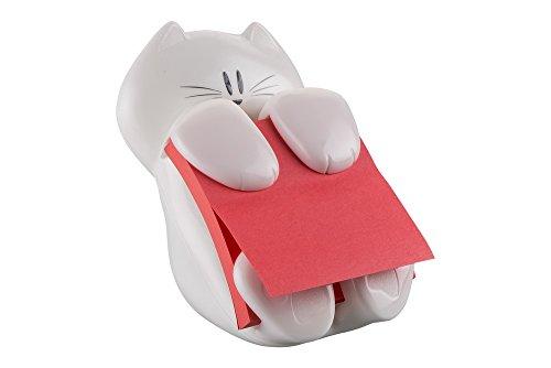 Post-It CAT-330 - Dispensador de notas, diseno Gato, color blanco (7,6 x 7,6 cm) – Incluye 1 bloc de Z-notas adhesivas super sticky color amapola