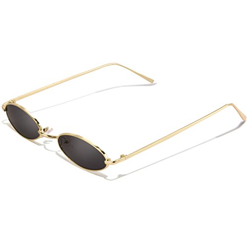 Vintage Oval Sunglasses For Women – Feirdio Small Metal Frame Candy Color 2265 (Gold-grey, 2.05) ()