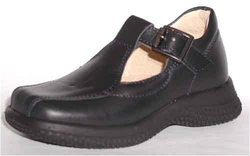 Girls leather Euro t-bar school shoe, buckle, navy, Laura2, 24