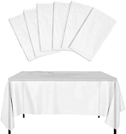 knowing 6 Piezas Mantel Desechable, Mantel Plástico Grueso Impermeable, Blanco Translúcido, Cubierta Mesa Jardín al Aire Libre, para Banquetes Fiesta Cumpleaños Boda Barbacoa: Amazon.es: Hogar