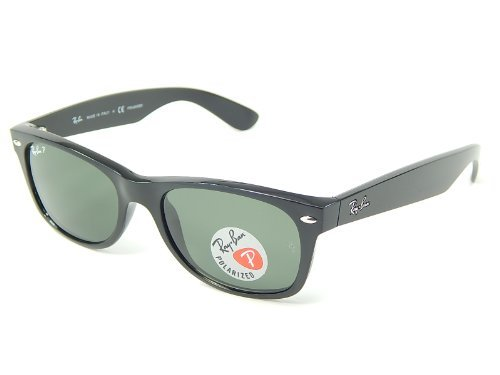Ray Ban RB2132 901/58 Wayfarer Black/Crystal Green Polarized 52mm - Wayfarer Ray Small Ban