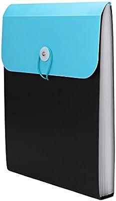 13 compartimentos Carpeta clasificadora A4 despacho ampliable clasificadora de polipropileno con goma el/ástica para oficina escuela 32 x 24.5 cm LxB color azul A4 carpeta de archivos