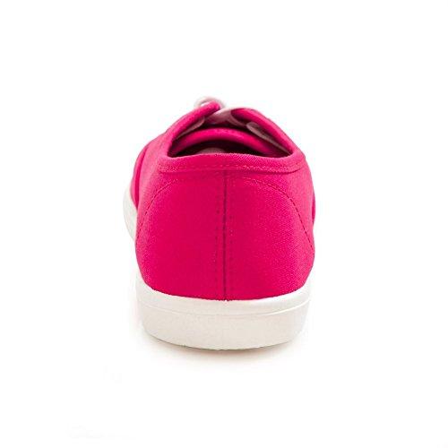 H2k Sports Womens [leggero] Moda Lace-up Comode Sneakers Ammortizzate Scarpe Casual Rosa E Bianco