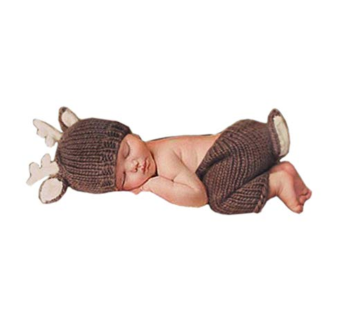 Pinbo Newborn Baby Photography Prop Crochet Knitted Deer Hat Pants]()