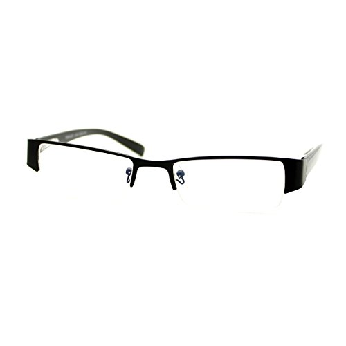 Magnified Reading Glasses Rectangular Half Rim Spring Hinge Frame Black - Rim Glasses Frames Half