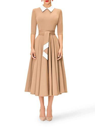 Women Casual Swing T-Shirt Dress Flowy Simple Contrast Collar Solid Tunic Short Mini Dresses