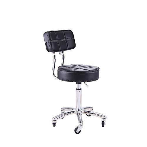 RFIVER Swivel Medical Chair Spa Stool with Back Round Height Adjustable Rolling Office Work Stool Drafting Stool in Black SC1003-1