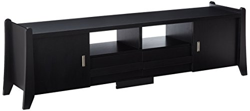 247SHOPATHOME YNJ-1416-1 Television-Stands, Black Black Widescreen Tv Stand