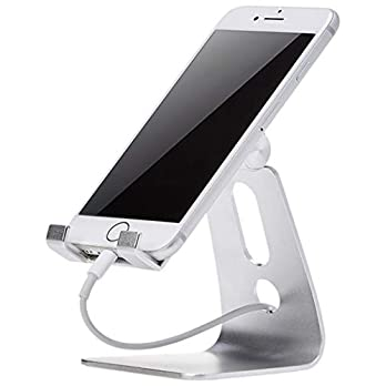 Amazon Basics Adjustable Aluminum Cell Phone Desk Stand for iPhone and Android, Silver